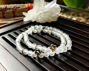6mm Matte Rock Crystal Clear Quartz /Thai Silver Yoga Mala Bracelet. Flower Charm Bracelet. Healing Natural Gemstone Bracelet. Wrist Mala.
