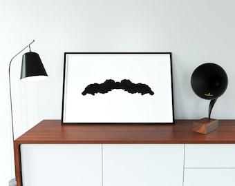 Moustache Ink Blot Digital Print