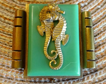 Vintage French JHP Jean Painleve Galalith & Brass Seahorse Pin - Circa 1950's