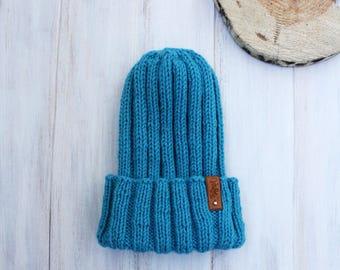 Knit Winter Hat, Blue Beanie Hat, Slouchy Beanie, Rolled up Beanie,  Knitted Wool Hat, Winter hat,  Women hat, Winter accesories, Womens hat