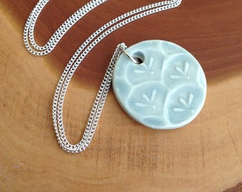 Sprouts in Fog Porcelain Pendant