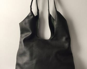 Leather Slouchy Tote in Forest Green