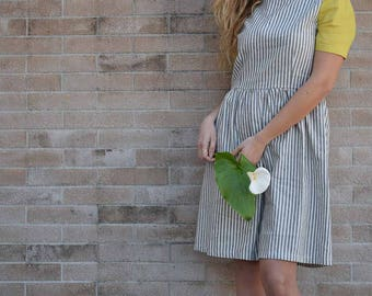 Striped cotton linen dress with yellow sleeves, soft and wide