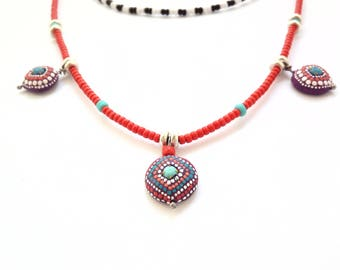 Multicolor beaded necklace//Boho long necklace//red/turquoise stone beads necklace/collane