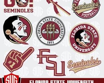 Florida State University monogram svg, Florida State Silhouette Studio,FSU Cricut, Screen Printing,  Florida State University Cameo, Logo_18