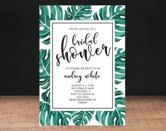 Bridal Shower Invitation,TROPICAL BRIDAL SHOWER Invitation, Shower Invite,Bride To Be, Stationary, Bridal Shower