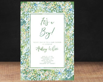 BABY SHOWER INVITATION, Blue Flowers Baby Shower Invitation, Watercolor, Its a Boy, Boy, Blue