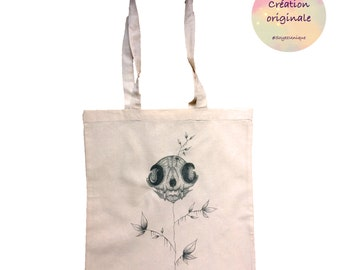 Original tote bag illustrated by french artist Jess Ifer- canvas bag-unique draw- cat skull-shopping bag