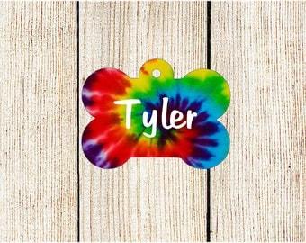 Tye Dye Pet Tag - Custom Pet ID Tag - Bone Dog Tag - Personalized Pet Tag