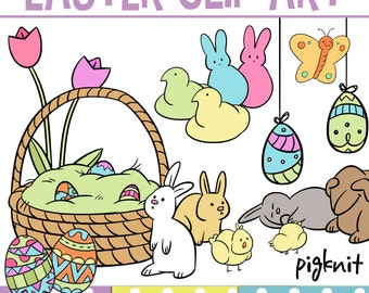 Cute Easter Clip Art, COMMERCIAL USE Clipart, Easter Shapes, Bunny Clip Art, Rabbit Clip Art, Easter Graphic, Easter Border, Spring Clip Art