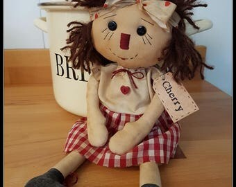 Primitive Raggedy Doll Cherry , OOAK , Folk Art Doll, Rag Doll , HANDMADE
