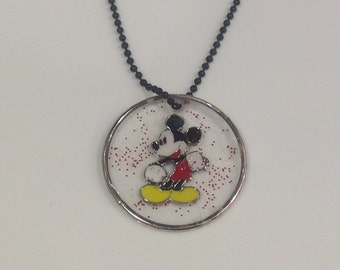 Mickey Mouse Classic Disney Circle Pendant Clear with a bit of red glitter perfect for boy or girl