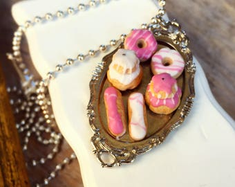 French Patisserie Necklace-Pink Heart Necklace with a Beautiful Tray of Pastries and Eiffel Tower, Miniature Food, Polymer Clay Jewelry