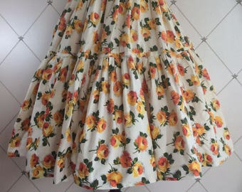 Very Pretty 1950's Tiered Skirt in a lovely scattered Rose Floral Print in Gold, Tangerine and Orange tones.