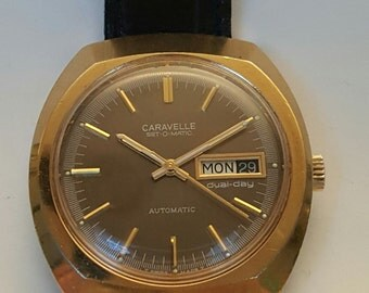 Vintage gentlemens CARAVELLE Set o Matic by BULOVA from 1975-------SERVICED--------