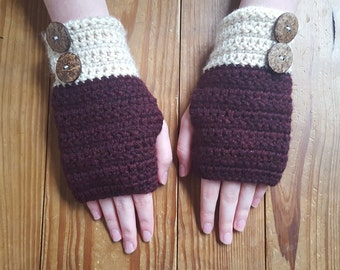 Handmade Crochet Finergless Gloves with Buttons - Red/Burgundy - Custom Women's Gloves and Arm Warmers