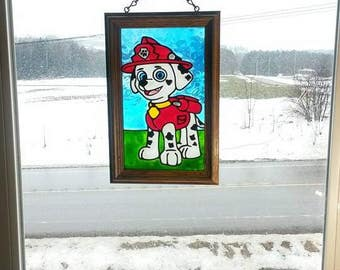 Marshall | Paw Patrol | Window Art | faux stained glass | painted glass | sun catcher