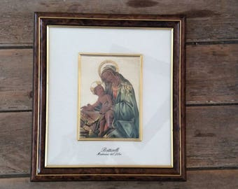 Mary & Jesus on Sterling Silver / Hand Painted / Framed / Religious / Catholic / Baptism/ Communion / Botticelli Madonna Del Libro / Italy
