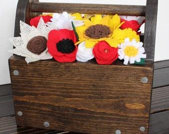 Felt Flower Filled Tool Box