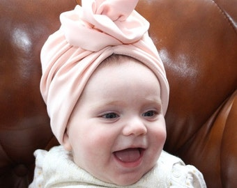 pink baby turban, Newborn turban, baby turban hat with bow, baby turban headband, baby bow turban, Bow turban, turban hat