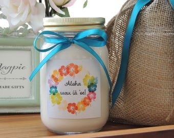 Custom Soy Candle//Vibrant Custom Label//Matching Satin Ribbon//Personalized Gifts//Hawaiian Candle I love You//Aloha au iā 'oe