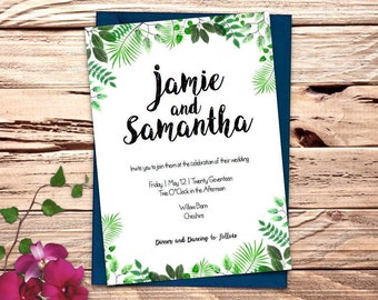 leaf design Printable Wedding Invitation Set