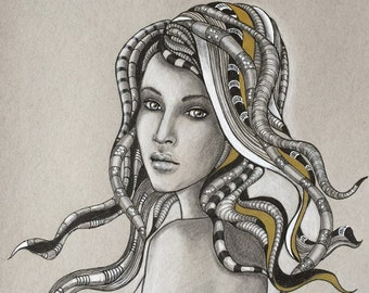 Limited Print of original drawing, Beautiful Woman