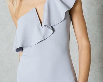 Gray One Shoulder Bodycon Ruffled Dress