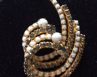 Vintage Milk Glass & Rhinestone Brooch