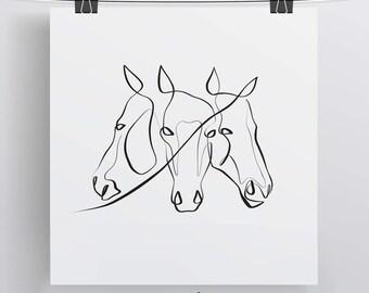 Horse Art Print, Horse Illustration, Equestrian Gift, Horse Gift Ideas, Black and White Horse, Horses Print, Equine Gifts, Equine Art Print