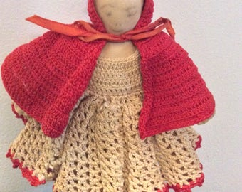 Vintage cloth doll dressed as Little Red Riding Hood