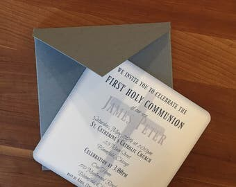 JAMES 5x5 Communion or Christening Card with Envelopes