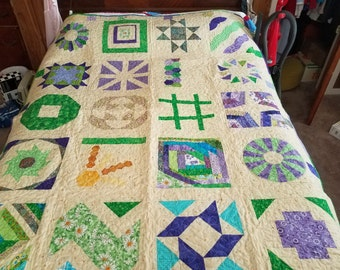Green and Purple Sampler Quilt