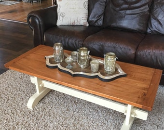 Farmhouse coffee table, trestle table, solid wood, cherry, pine, rusticwood, shabby  chic, living room table, rustic furniture, gift