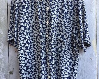 Vintage Adrienne Vittadini /Cute terrier dog printed Soft Silk Button down Shirt /80's 90's