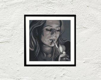 Painting portrait woman smoking cigarette black and white - poster print art print