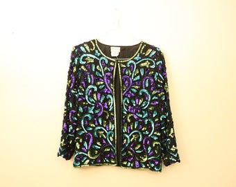 Vintage Sequined Purple and Turquoise Stenay Cardigan *Flat Rate Shipping* [Cute Vintage Top Shirt Jacket Fancy Shawl Women's Size XL]