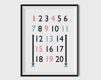 Numbers, Numbers Print, Nursery Art, Nursery Wall Art, Nursery Decor, 8x10, 11 X14