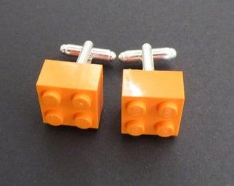 Lego cuff links - Orange