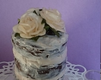 Romantic miniature  wedding  naked cake with roses,polymer clay