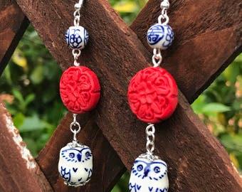 Owl Dangle Earrings || Boho Chic Earrings || Asian Style Earrings