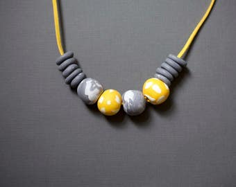 Yellow and Grey Statement Necklace, Polymer Clay Necklace, Contemporary Beaded Necklace, Block Colour Necklace, Chunky Beads, Gift For Her