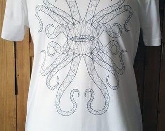 Ladies Hexa-Dectapus T-Shirt, Vector Graphics T-Shirt, Animal T-Shirt, Line Art T-Shirt, Cool T-Shirt, Unique T-Shirt, Sea Creature T-Shirt