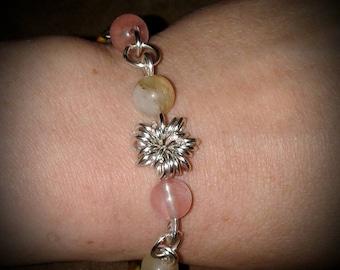 Cherry Quartz Wire Work/Chainmaille Bracelet