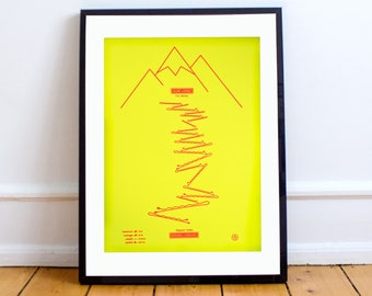 Alpe d'huez A3 Screen Print, 21 hairpins, road bike, roadie, tour de france, yellow, neon, bike, altitude, cycling, climb, limited edition