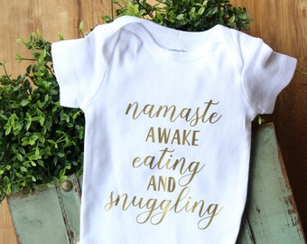 Namaste bodysuit, yoga baby, namaste awake, hospital outfit, baby shower gift, new baby gift, baby outfit, going home outfit, funny bodysuit