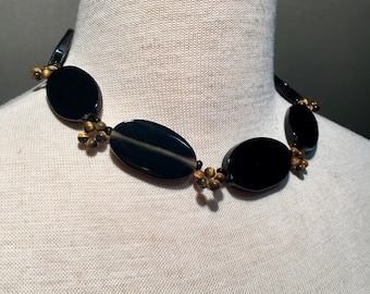 Black onyx and tigers eye necklace