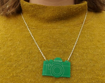 """Green Laser Cut Acrylic Camera Necklace 20"""" Silver Chain"""