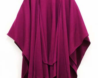 Vintage Long Layered Berry Wool Shawl Womens Mens Retro Purple Diva
