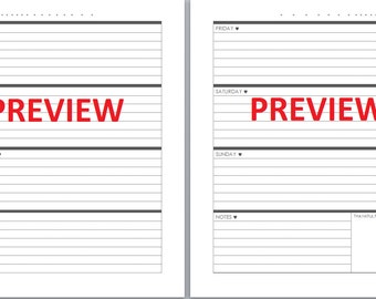 Happy Planner style horizontal weekly planner inserts - perpetual planner -  black and white - INSTANT DOWNLOAD